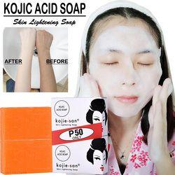 Kojie San blanqueamiento jabón para aclarar la piel Kojic ácido glicerina jabón hecho a mano limpieza profunda aclarar la piel