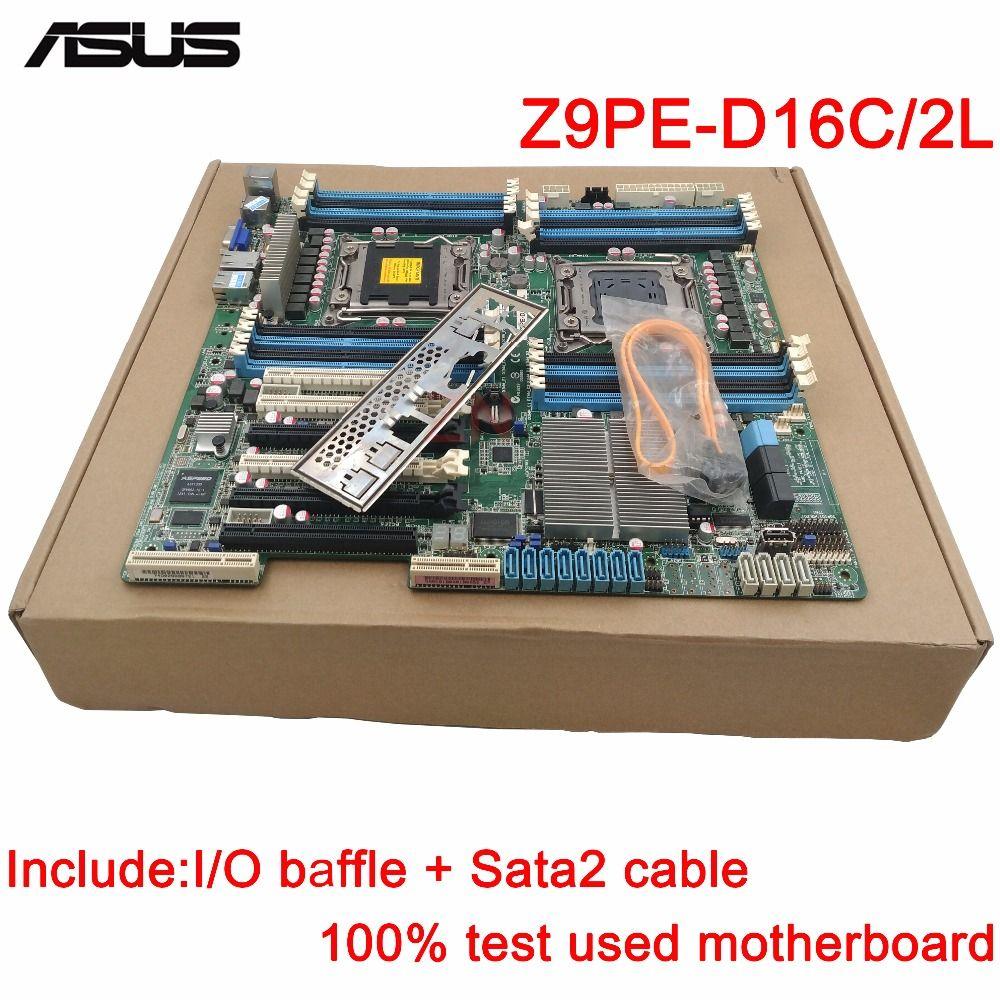 Original Gebrauchte Server motherboard Für ASUS Z9PE-D16C2L Z9PE-D16C/2L Buchse 2011 Maximale 16 * DDR3 32 GB 2 xSATAIII 4 xSATAII ATX