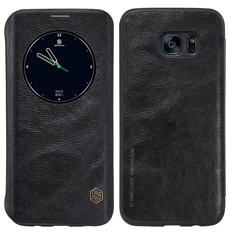 Nillkin Qin Fashion Genuine Leather Phone Case For Samsung S7 Edge Shockproof Flip Cover For S7 Edge G935FD / G935 / G935F