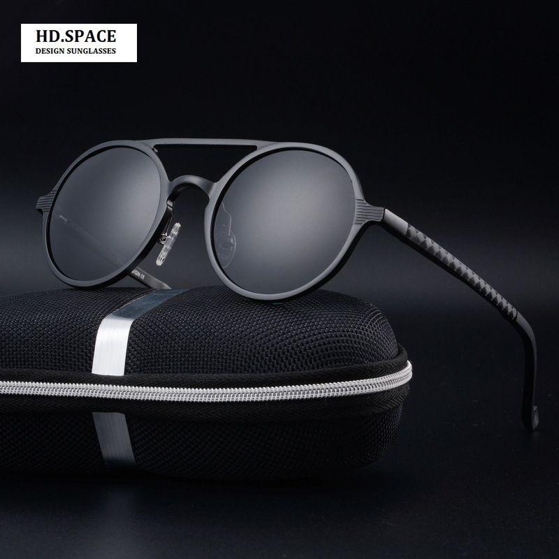 High quality men's aluminum magnesium fashion round Polarized Sunglasses lunette de soleil <font><b>homme</b></font> round sunglasses men
