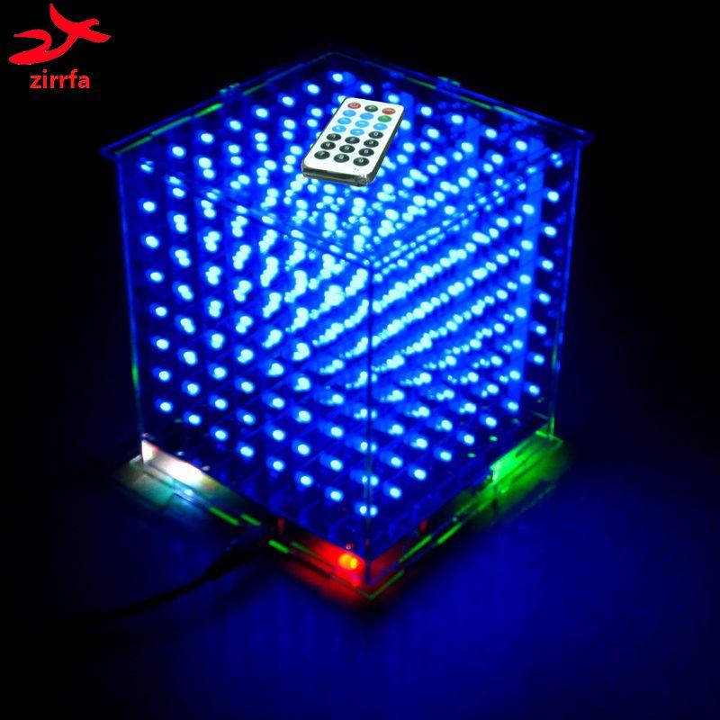 Zirrfa 3D8 mini Cubeeds avec d'excellentes animations/3D CUBEEDS 8 8x8x8 Junior, affichage LED, LED Spectre de La Musique, électronique diy kit