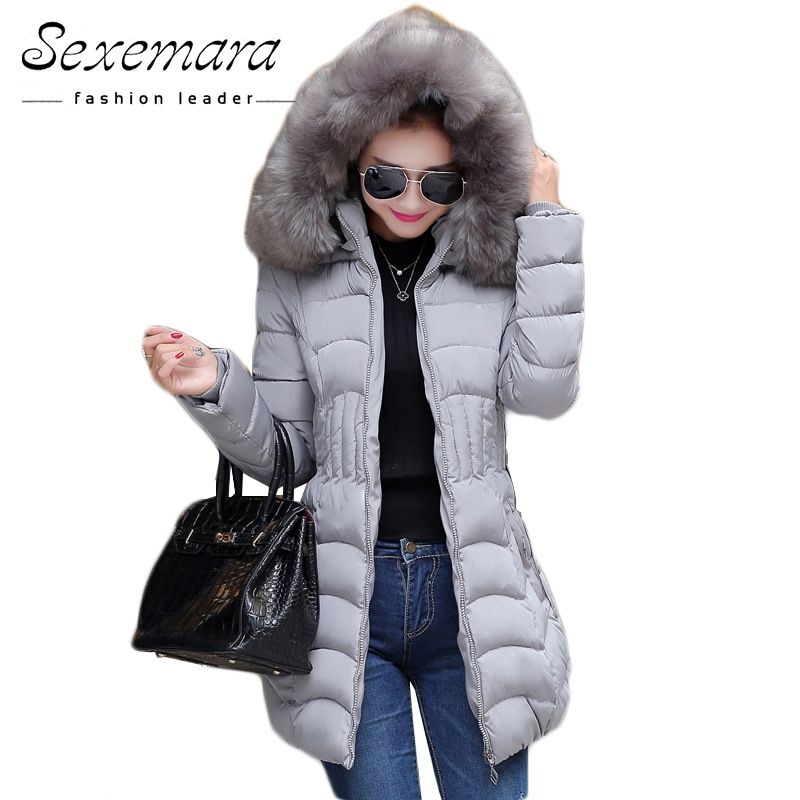 Sale 4XL Fur Hooded Female Winter Down Jacket Cotton Slim Overcoat Elegant Casual Long Sleeve Women Coat Park 2017 Big Plus Size