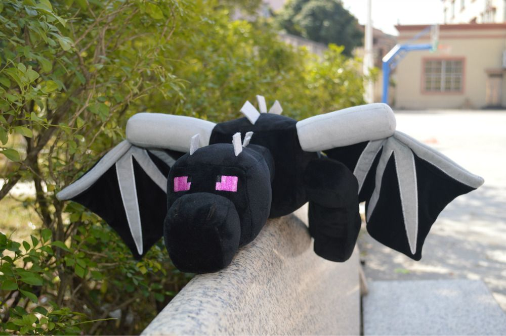 Promotion Big Size ! Minecraft Fat Ender Dragon Plush Doll Soft Black Minecraft Enderdragon Stuffed Doll Boys Kids Birthday Gift