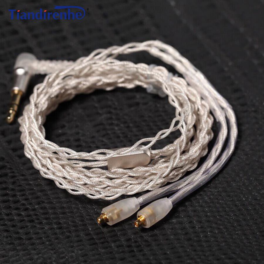 Tiandirenhe обновления MMCX кабель для Shure se215 SE425 SE535 SE846 наушники серебрение наушников Провода с термоусадочной трубки