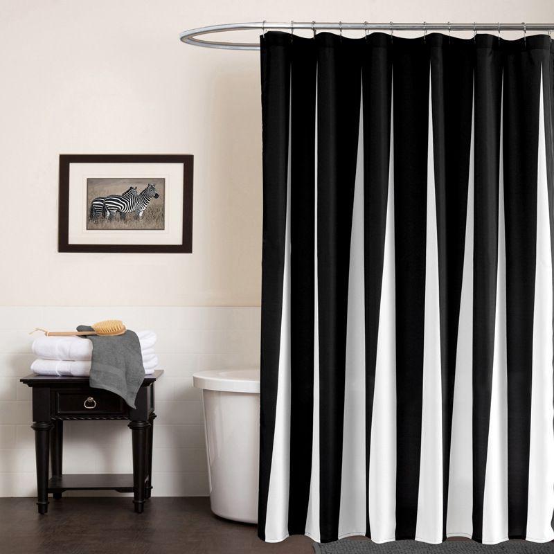 Moderne Polyester Rideaux De Douche Noir Blanc Rayé Imprimé Étanche Tissu pour Salle De Bains Écologique Accueil Hôtel Fournir