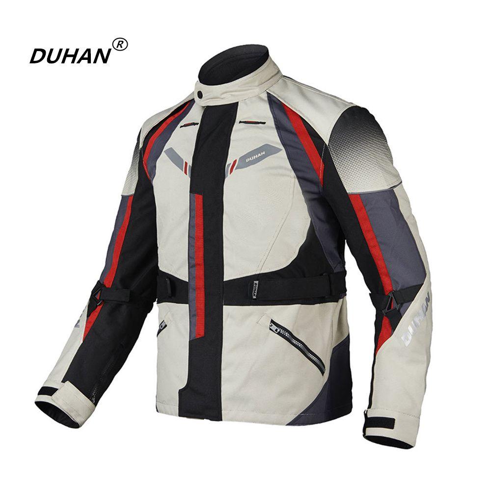 DUHAN Men Motorcycle Jacket+Motorcycle Pants Winter Cold-proof Waterproof Jacket Protectors Armor Motorbike Clothing Set