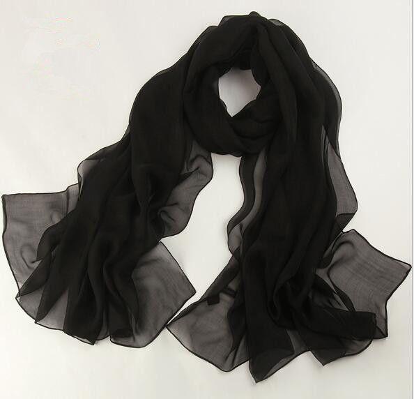 Hohe qualität frauen sommer mode solide silk schal großen schal 180*110 cm