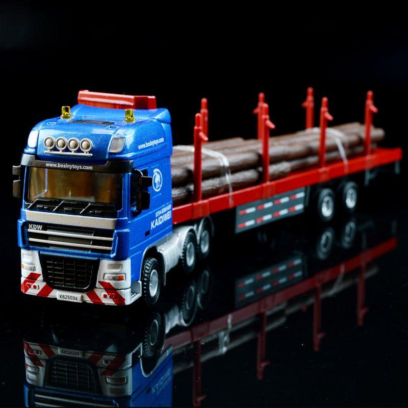 1:50 Conteneur Transporteur De Bois Camion Véhicule D'ingénierie Modèle Alliage En Métal À Plat Remorque Camions Jouets Favoris Modèle