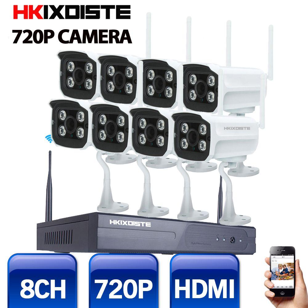 Wifi IP Camera System Kit 8CH NVR Wireless Camera Standalone System 8CH NVR 8 Wireless/Wired IP Camera 720P Security Camera Kit