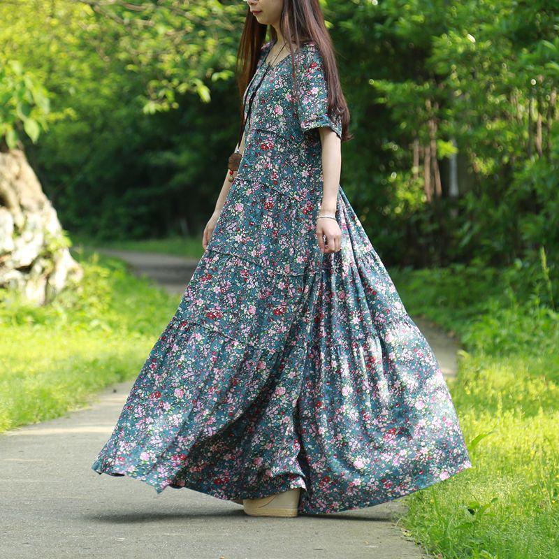 LZJN Sommer Strand Kleid 2018 Kleine Blume Maxi Hemd Kleid für Frauen Ethnische Robe Femme Holz Taste Patchwork Lange Böhmischen kleid