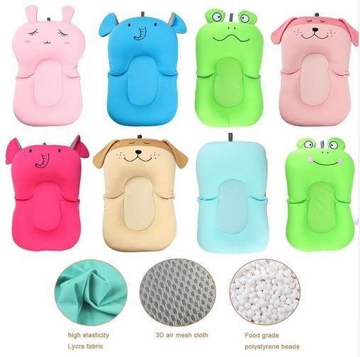 Livraison directe bébé douche Portable coussin d'air lit bébés infantile bébé bain Pad antidérapant baignoire tapis nouveau-né sécurité