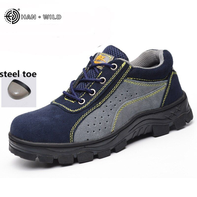 2018 Spring Work Boots Men Steel Toe Suede Leather Breathable Casual Shoes Labor Insurance Safety Shoes