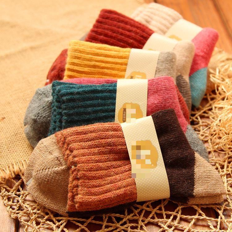 10 unids = 5 par/lote 2015 Estilo Popular de Doble Costura con Aguja Cuatro Terry Gruesa Caliente calcetines de Lana de Conejo otoño shipingg gratuito
