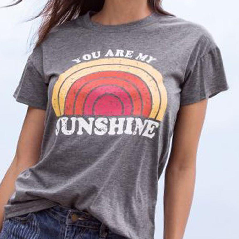 Femmes T-Shirt d'été à manches courtes hauts T-Shirt vous êtes mon soleil arc-en-ciel imprimé o-cou T-Shirt femme Harajuku T-Shirt dames hauts