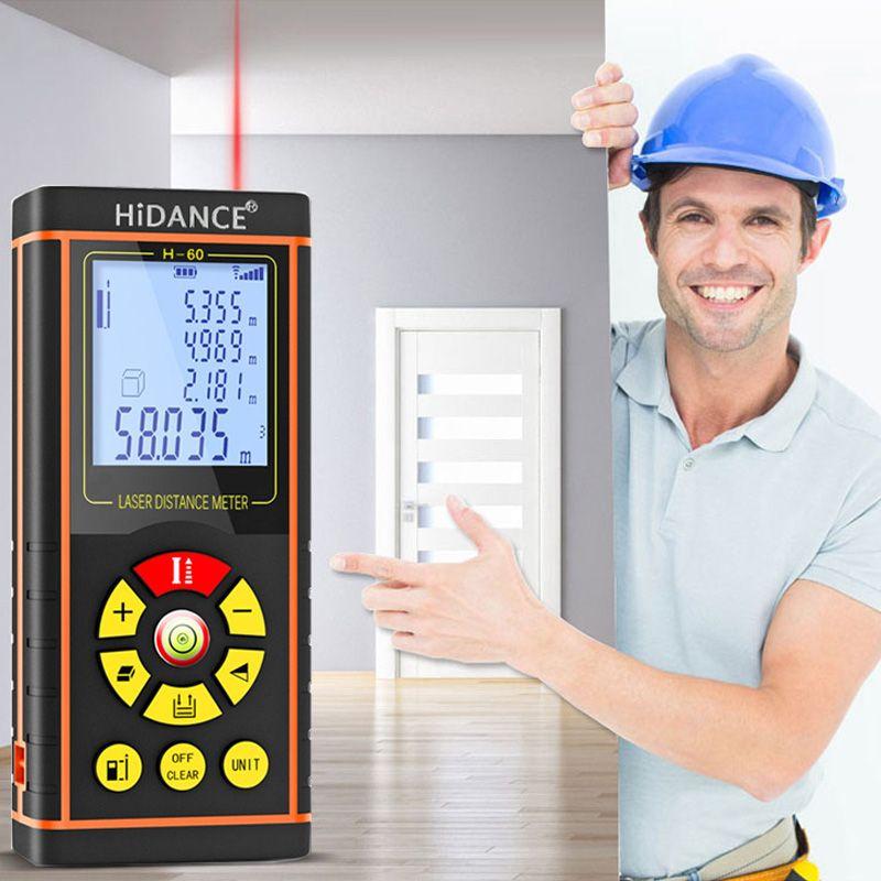 100M HiDANCE 12 IN 1 Digital Laser Distance Meter Laser Rangefinder Optical Tape Range Finder Diastimeter Measure Roulette
