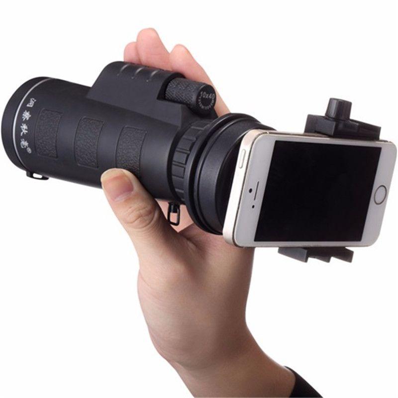 Universal 10x40 Zoom Telescopio Monocular Lente de La Cámara Senderismo Concierto Smartphone Lente de La Cámara Del Sostenedor Del Teléfono Para Smartphone Portátiles
