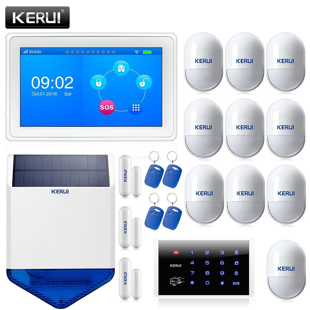 K7 Color Display Touch Screen WiFi GPRS GSM Multiple Pattern Burglar Home Security Alarm System
