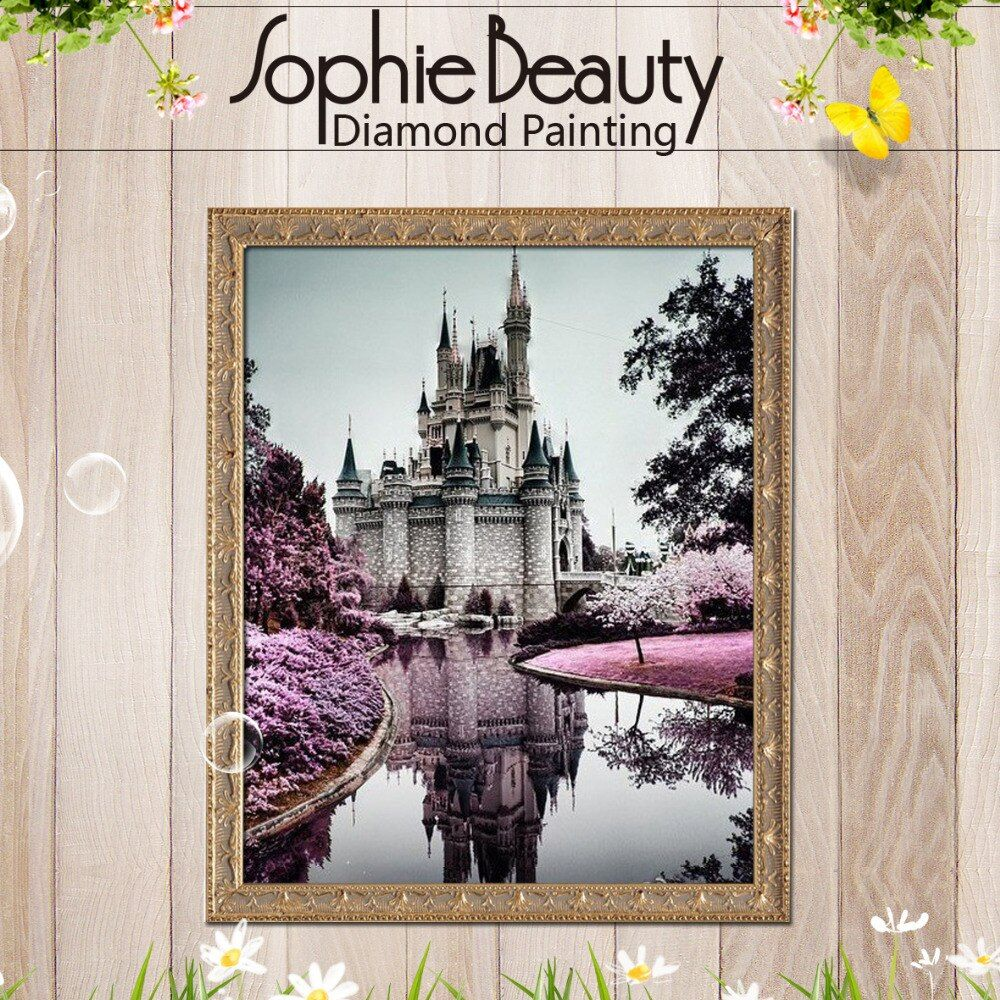 Sophie Beauty Full Drill Embroidery 3d Diamond Panting Cross Stitch Fashion Mosaic Pictures Rhinestones Building Castle Atrs Kit