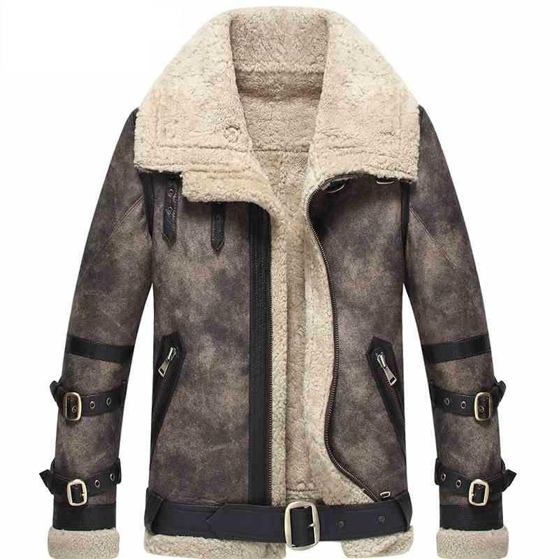 Herren Lammfell Mantel Grau Farbe Fliegerjacke B3 B2 100% echte Motorrad Mantel Lederjacke Für Männer Lammfell Pelz Mantel WZS
