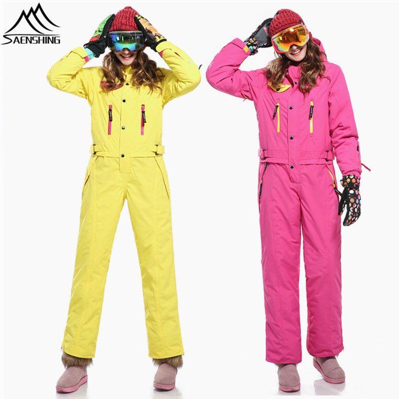 SAENSHING Ein Stück Ski Anzug Frauen Mountain Ski jacke + Snowboard Hosen Weibliche Wasserdichte Set Verdicken Winter Schnee Overall
