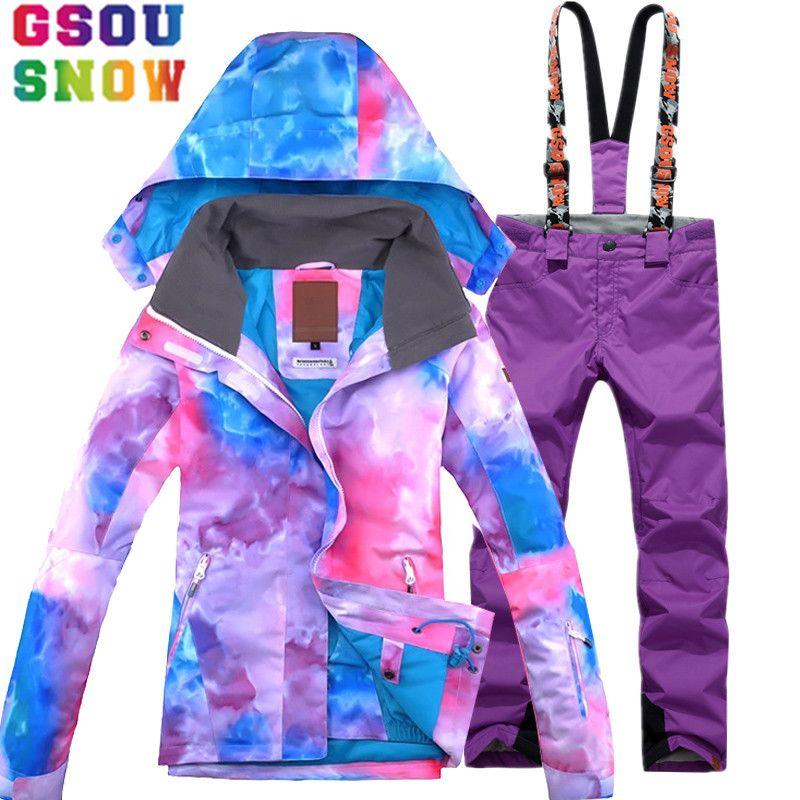 GSOU SNOW Ski Suit Women Waterproof Ski Jacket Pants Winter Mountain Skiing Suit Cheap Snowboard Sets Outdoor Sports Clothing