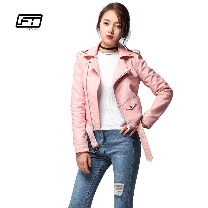 Fitaylor 2018 Spring Autumn Women Faux Soft Leather Jacket Long Sleeve Pink Biker Coat Zipper Design Motorcycle PU Red Jacket