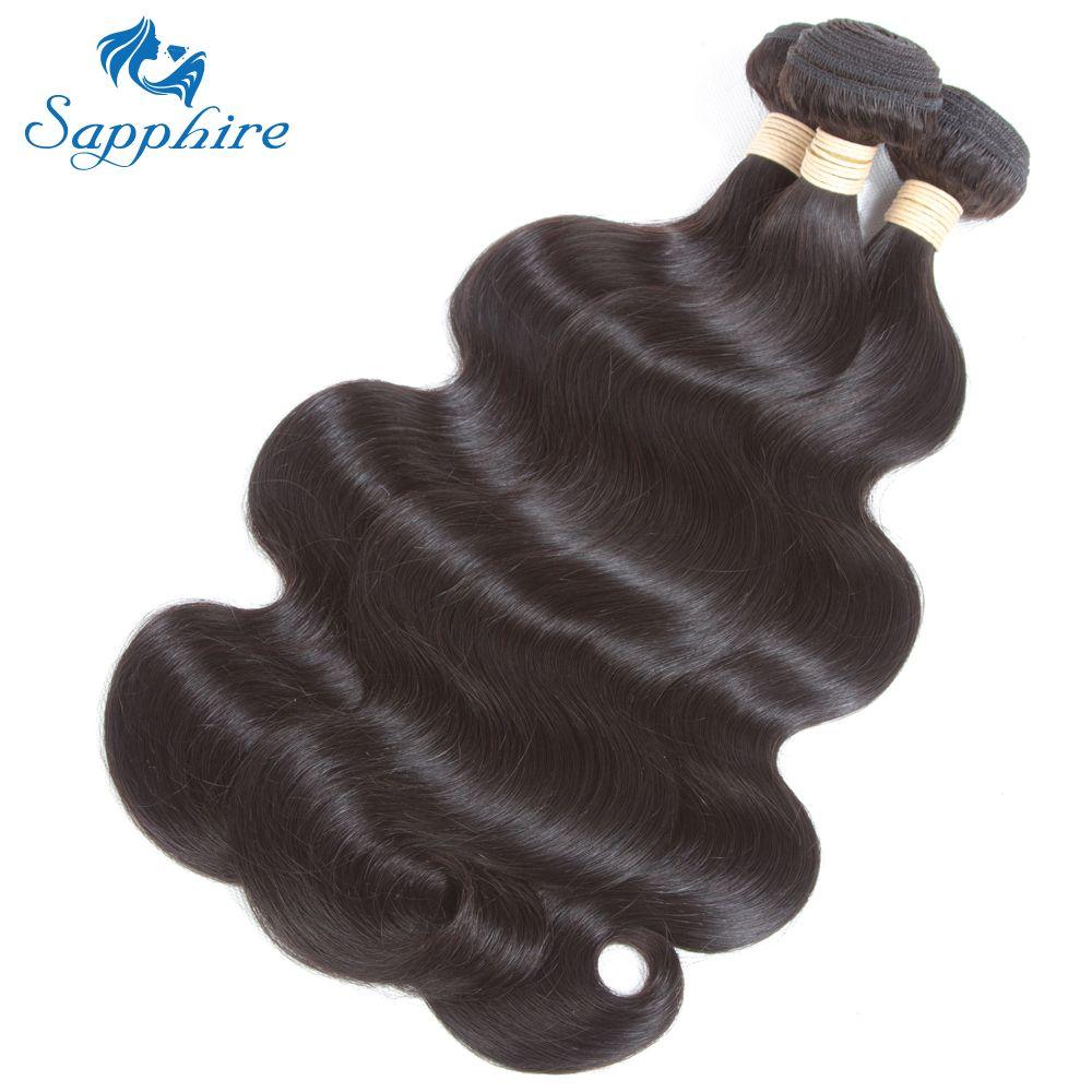 Zafiro Cuerpo onda 4 paquetes/Lot Malasia Cuerpo onda Cabello humano bundles 100% Malasia Remy extensiones del pelo para el salón de pelo