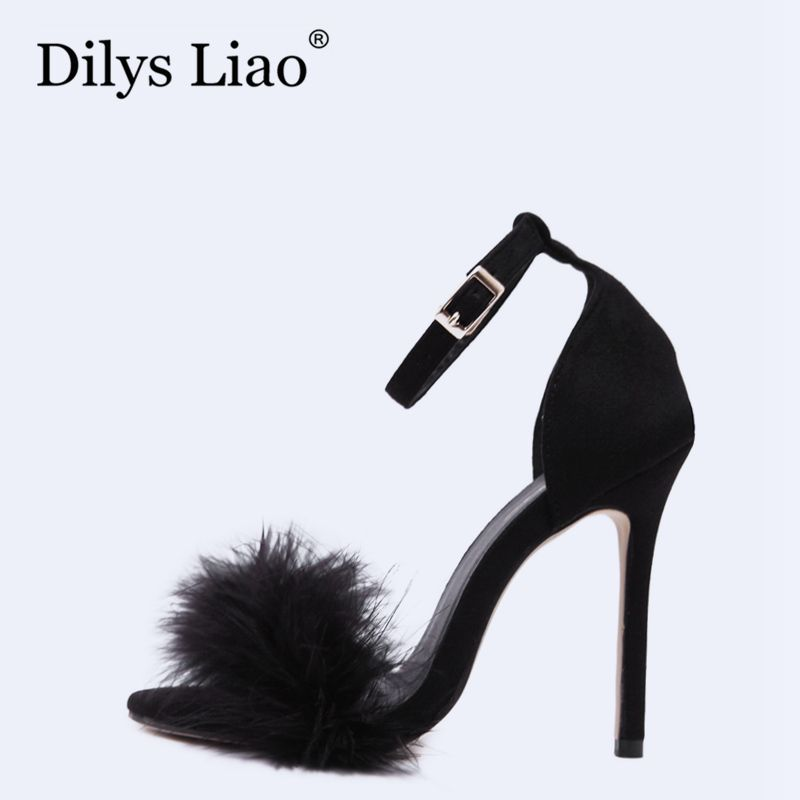 Dilys Liao Hot Fashion Women Sexy Feather Black Peep Toe Stiletto High Heels Shoes Buckle Ankle Strap Pink Fur Wedding Sandals