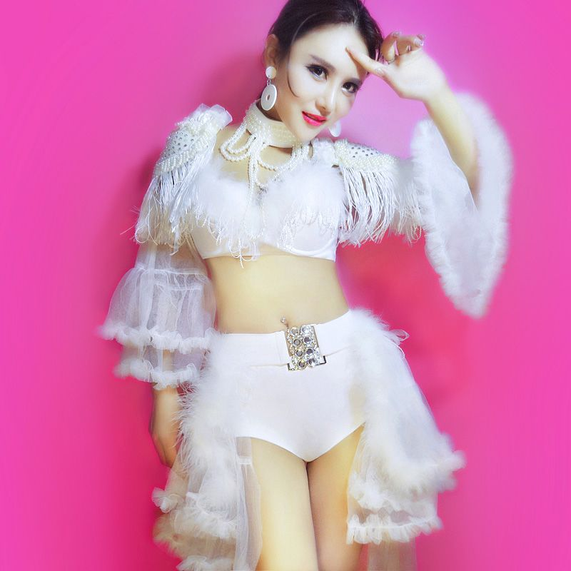 Hip Hop Jazz Sexy Feather DJ Dance Costume Singer Clothing Stage Outfit Costumes for Singers DS Performance clothes 5PCS/SET