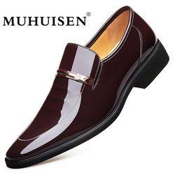 MUHUISEN hombres vestido zapatos de cuero deslizamiento en moda masculina Formal Oxford zapatos planos del dedo del pie puntiagudo zapatos casuales para hombres