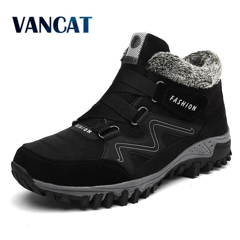 VANCAT Men Boots Winter With Fur 2017 Warm Snow Boots Men Winter Boots Work Shoes Men Footwear Fashion Rubber Ankle Shoes 39-46