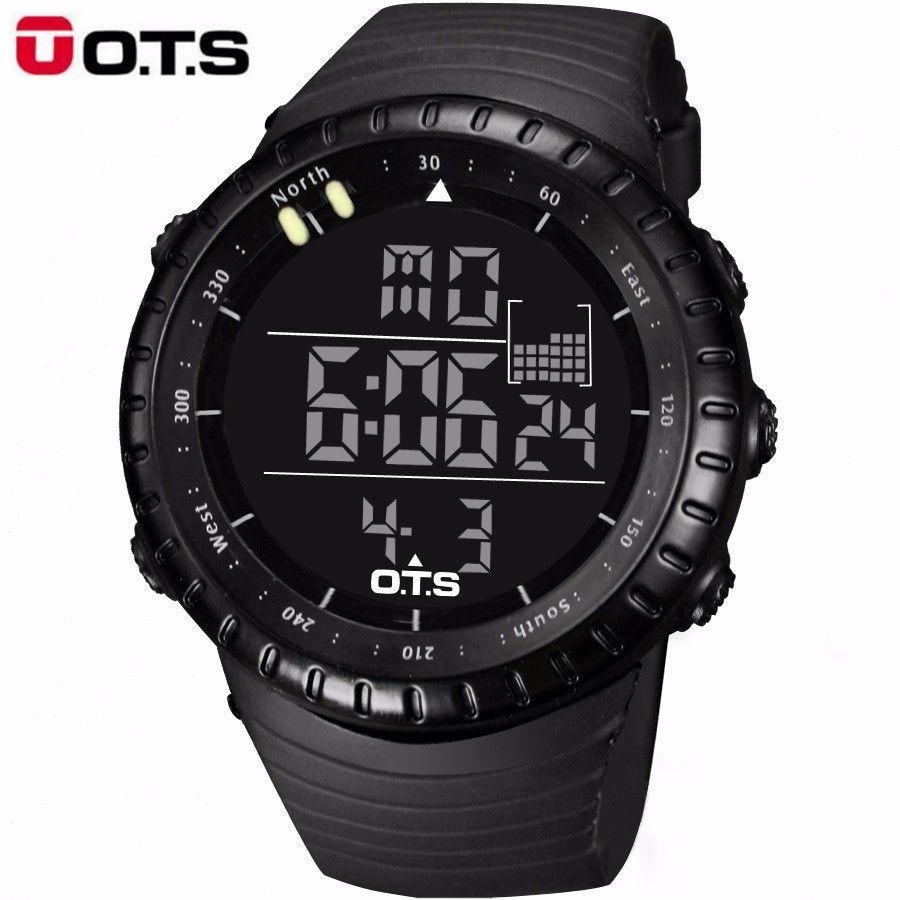 OTS Reloj Electrónico Digital Reloj Fresco de Los Hombres Dial Grande Reloj Estudiante Deportes Pantalla LED Multifunción Militar Reloj Luminoso