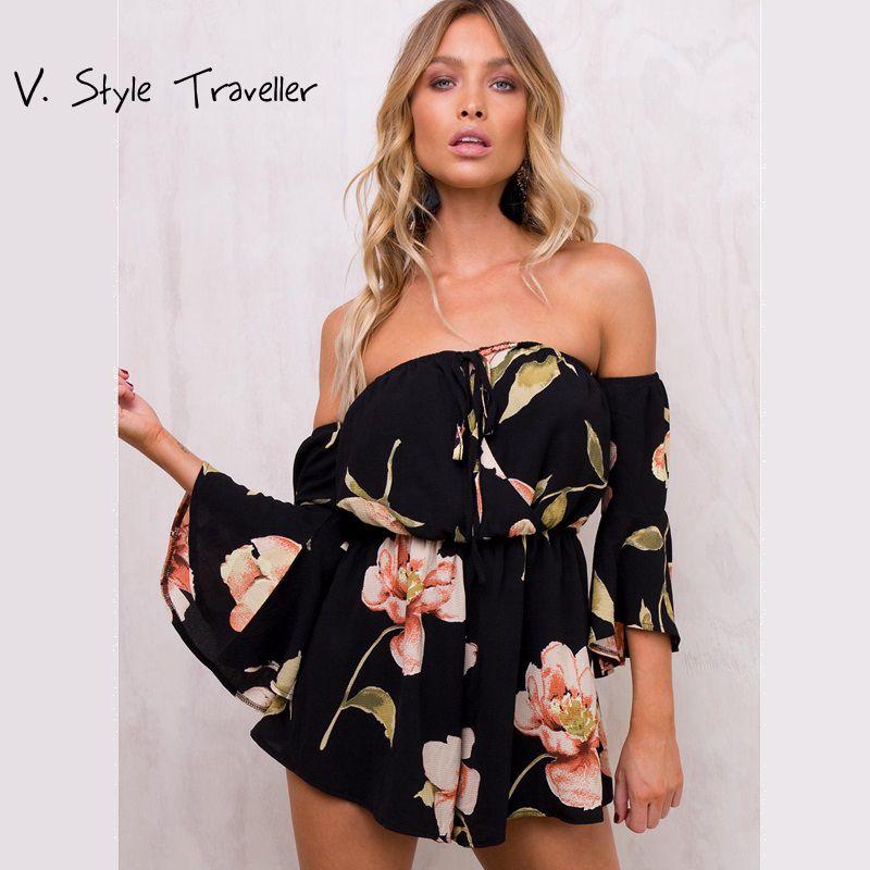 Casual Épaule off Combishort Sexy Body Femmes Shorts Boho Fleur Imprimer Salopette robe D'été Style Beach Resort Barboteuse Nouveau