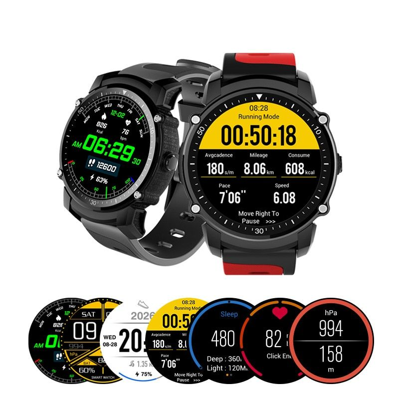 Kingwear FS08 Smart Watch Transflective TFT Screen 1.26inch GPS Heart Rate Monitor Pedometer Compas Smartwatch For Android iOS