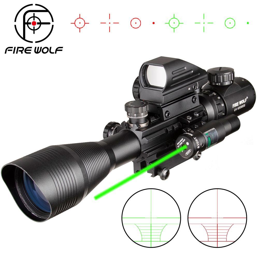 4-12X50 ZB Jagd Airsofts Zielfernrohr Taktische Air Gun Rot Grün Dot Laser Anblick Umfang Holographische Optik Zielfernrohr
