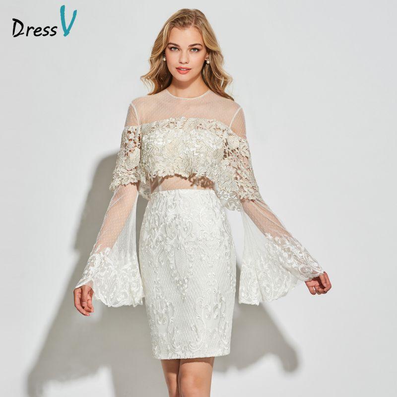 Dressv white tulle cocktail dress scoop neck long sleeves elegant knee length wedding party formal dress lace cocktail dresses