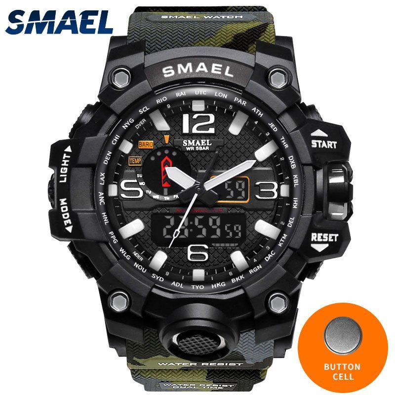 Военная Униформа часы цифровой smael бренд часы s шок Для мужчин наручные спортивные светодиодные часы погружения 1545b 50 м Wateproof Фитнес спортивн...