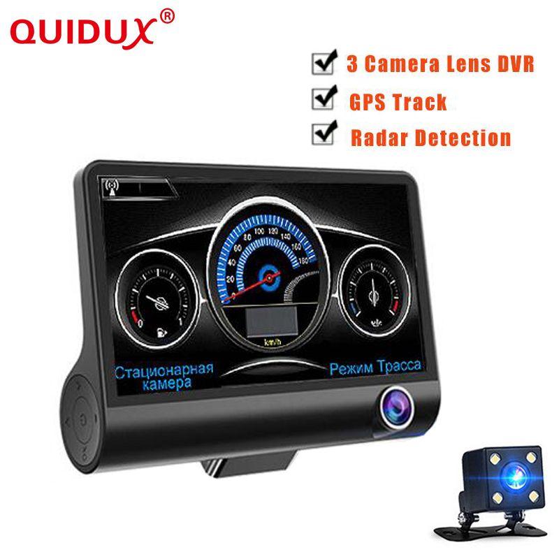QUIDUX 4.0 Inch 3 in 1 Car dvr dual lens three camera with Radar Detector GPS Loop video Rearview dashcam Camcorder Radar Speed