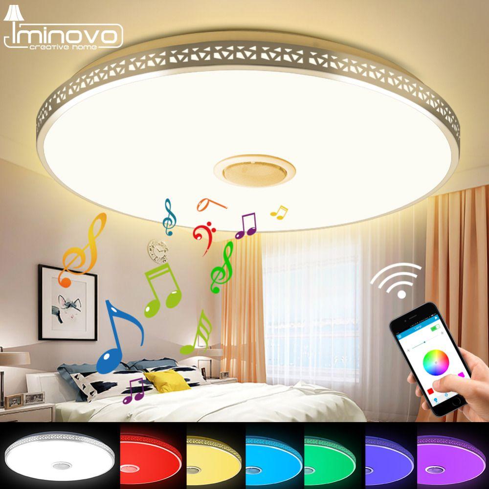 Modern Bluetooth Speaker Ceiling Light Remote Control RGB LED Music Lamp <font><b>Dimmable</b></font> Living Room Lighting Fixture Bedroom Smart
