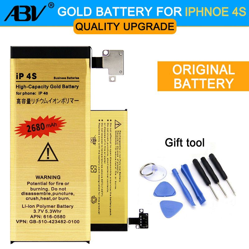 Original ABV 0 Cycle High Capacity Li-ion Gold Replacement Battery for Apple iPhone 4s iphone4S with 8 in 1 Repair tools kits