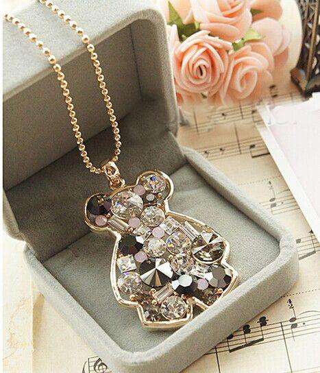 Vente chaude top qualité oso collier/corée marque autriche cristal animale ours bijoux femmes accessoires/collier femme/colares longos