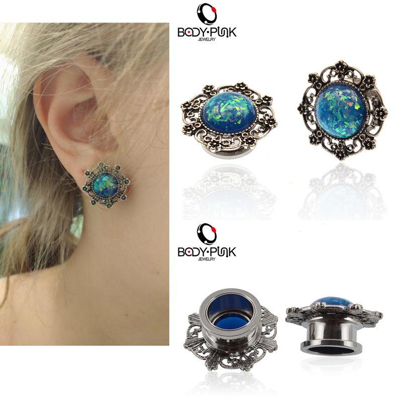 KÖRPER PUNK Königin Plugs Flesh Tunnel Expander Edelstahl Blau Opal Filigrane Ohrstöpsel Piercing Körperschmuck 1 Para