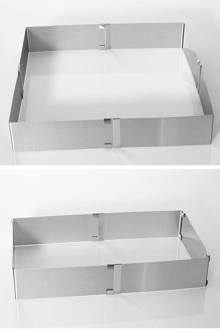 1 PC Métal de Coupe En Acier Inoxydable 16-28 cm Largeur Réglable Carré/Retangle Forme Mousse Anneau pour la Cuisine cuisson Outil KX 176