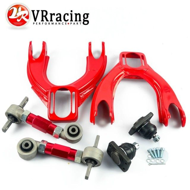 VR RACING - FOR HONDA CIVIC 92-95/INTEGRA  JDM FRONT UPPER CONTROL ARM TUBE CAMBER KIT+ 92-00 Adjustable Rear Camber Arms RED