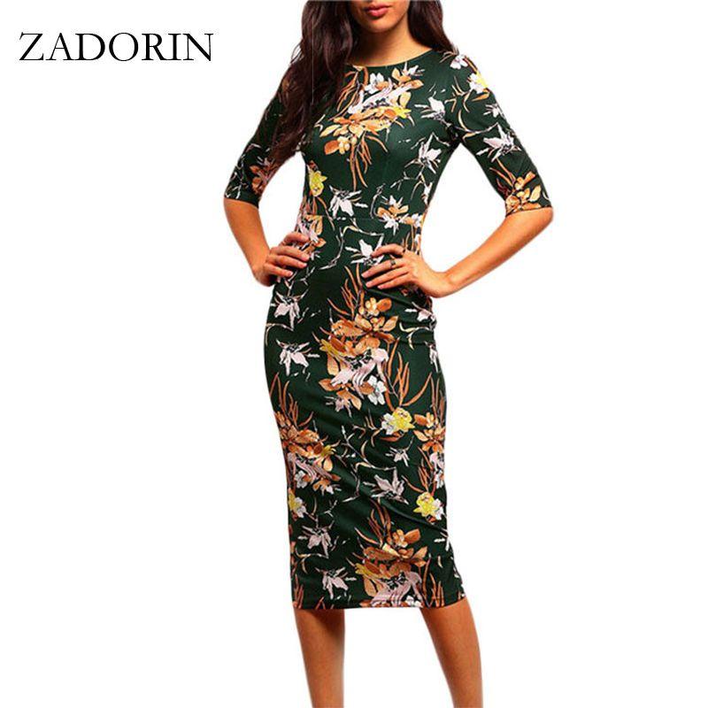 2019 Vintage imprimé Floral à manches courtes moulante robe crayon femmes robes élégantes été tenue décontractée robe femme vestidos mujer