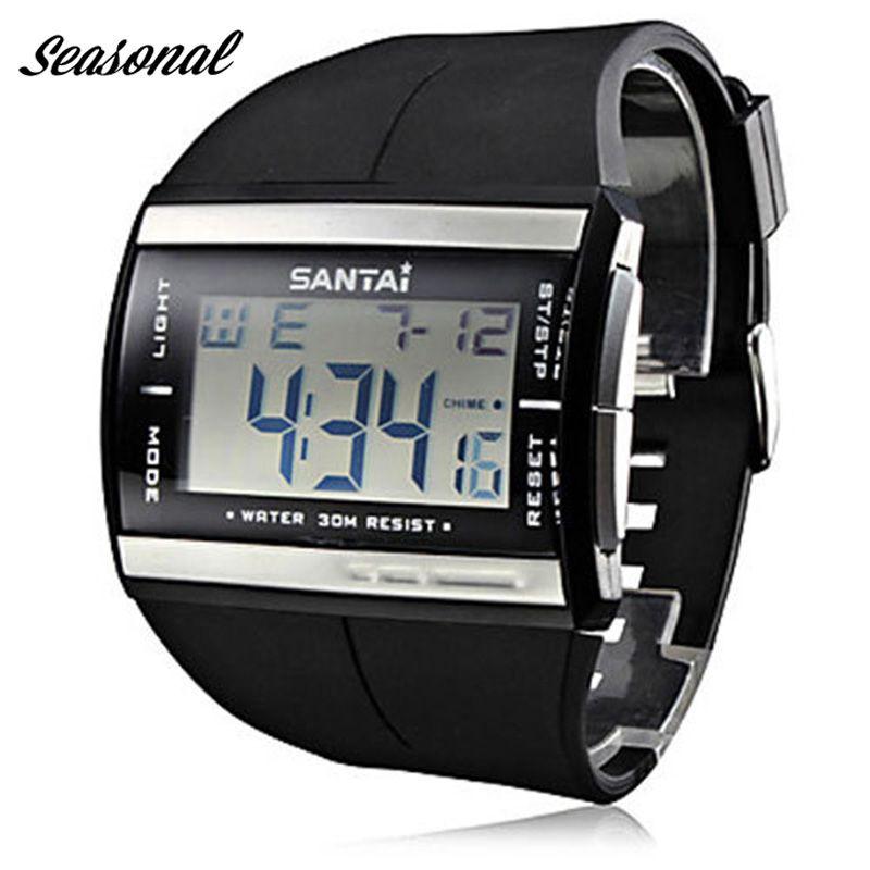 Santai mode hommes Montre de sport LED étanche extérieure Montre numérique bracelet en caoutchouc Montre Reloj Hombre Montre Homme