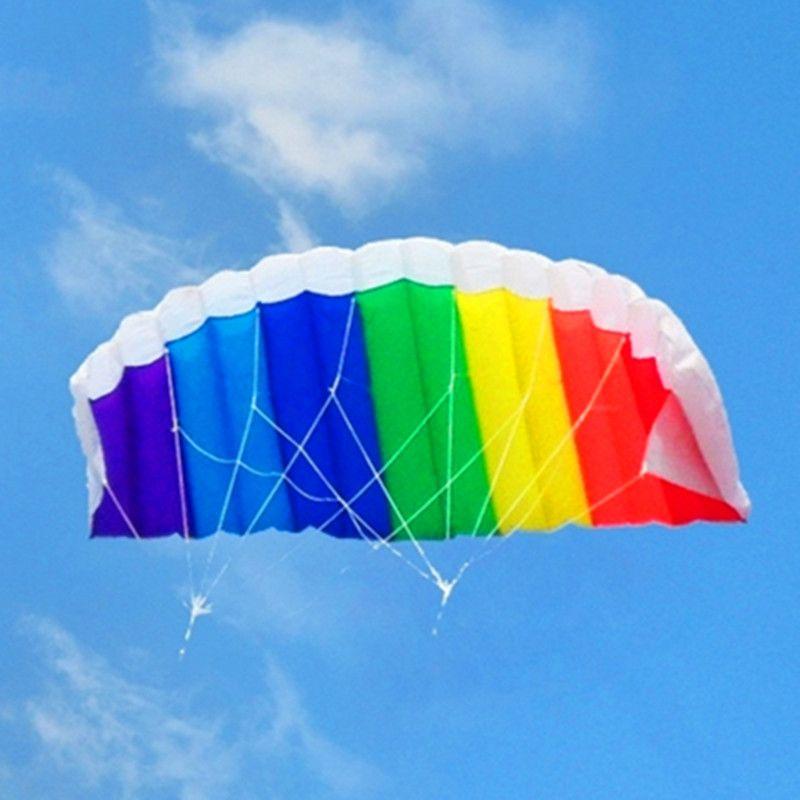 Livraison gratuite haute qualité arc-en-ciel double ligne cascadeur puissance cerf-volant embarquement avec poignée ligne parafoil kitesurf chaussette gonflable