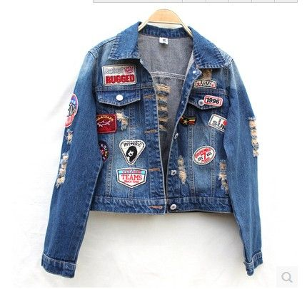 2016 spring autumn denim outerwear female long-sleeve loose HARAJUKU bf hole badge applique jacket women's casual coat women top
