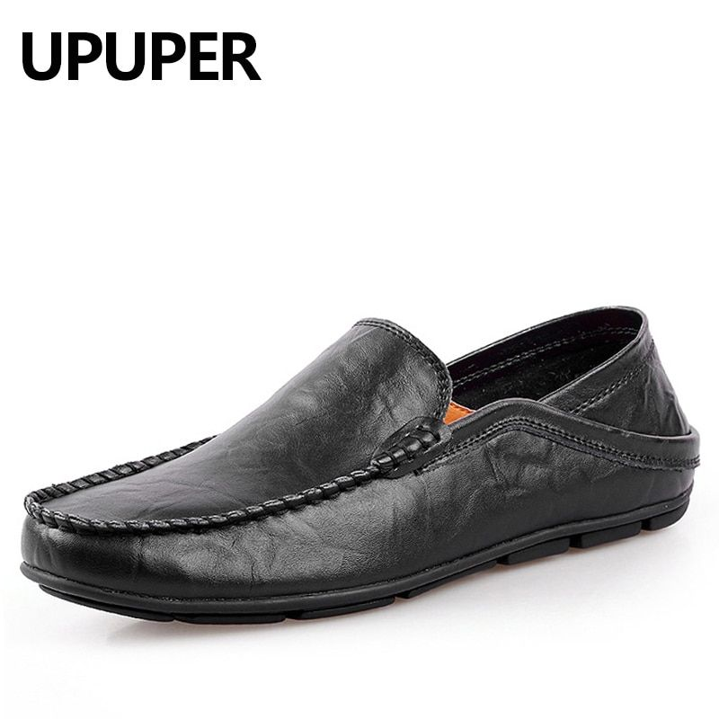 UPUPER Big Size 45 46 Summer Genuine Leather Shoes Men Casual Moccasins Mens Slip-On Loafers Breathable Driving Black Shoes