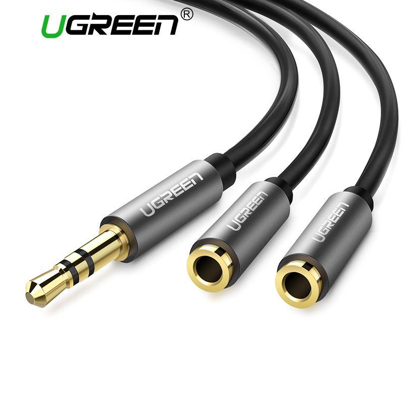 Ugreen Kopfhörer Splitter Audio Kabel 3,5mm Stecker auf 2 Weibliche Jack 3,5mm Splitter Adapter Aux Kabel für iPhone samsung MP3 Player
